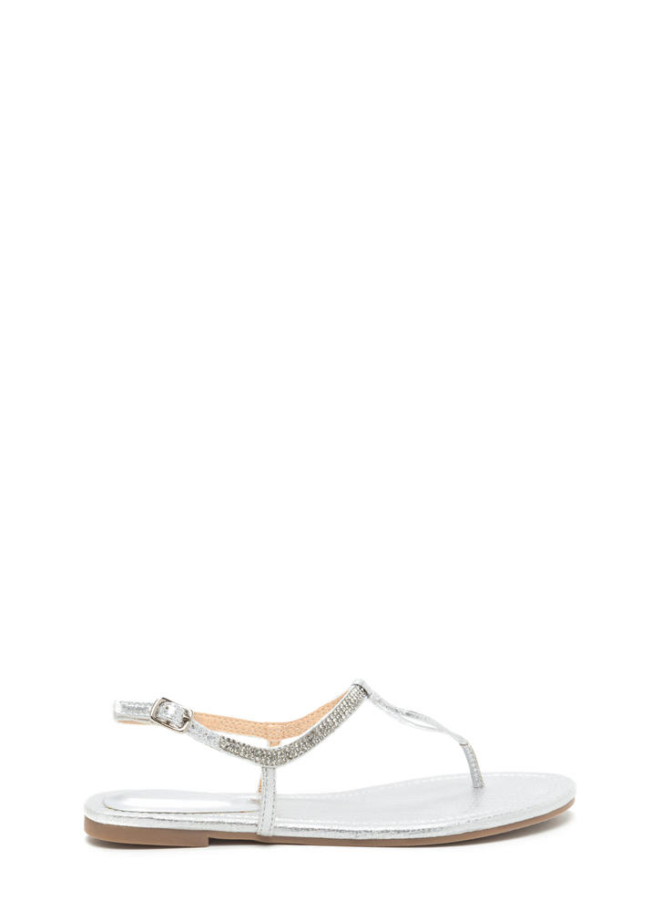 Bling It On Metallic T-Strap Sandals CHAMPAGNE SILVER