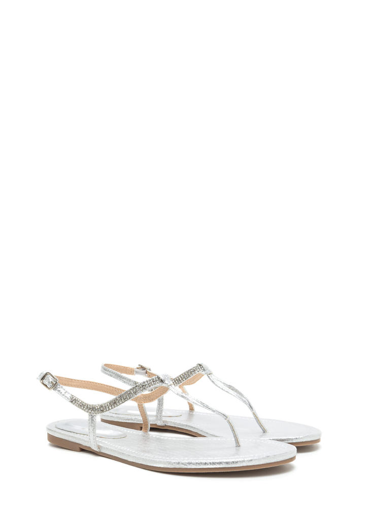 Bling It On Metallic T-Strap Sandals SILVER