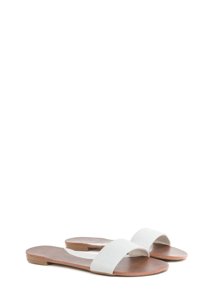 One And Done Faux Leather Slide Sandals WHITE