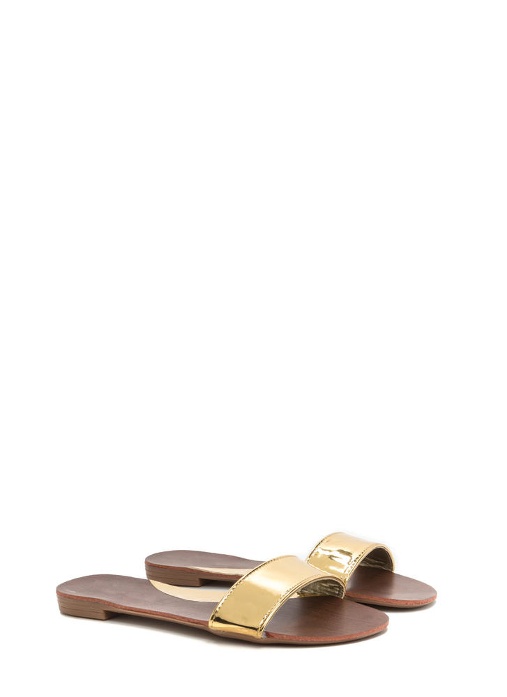 One And Done Metallic Slide Sandals GOLD