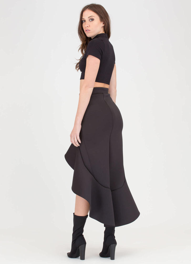 Mermaid Magic Ruffled High-Low Skirt BLACK