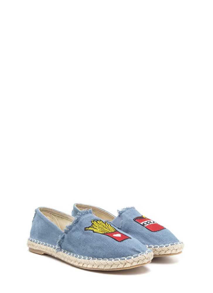 Foodie Fun Embroidered Espadrille Flats BLUE
