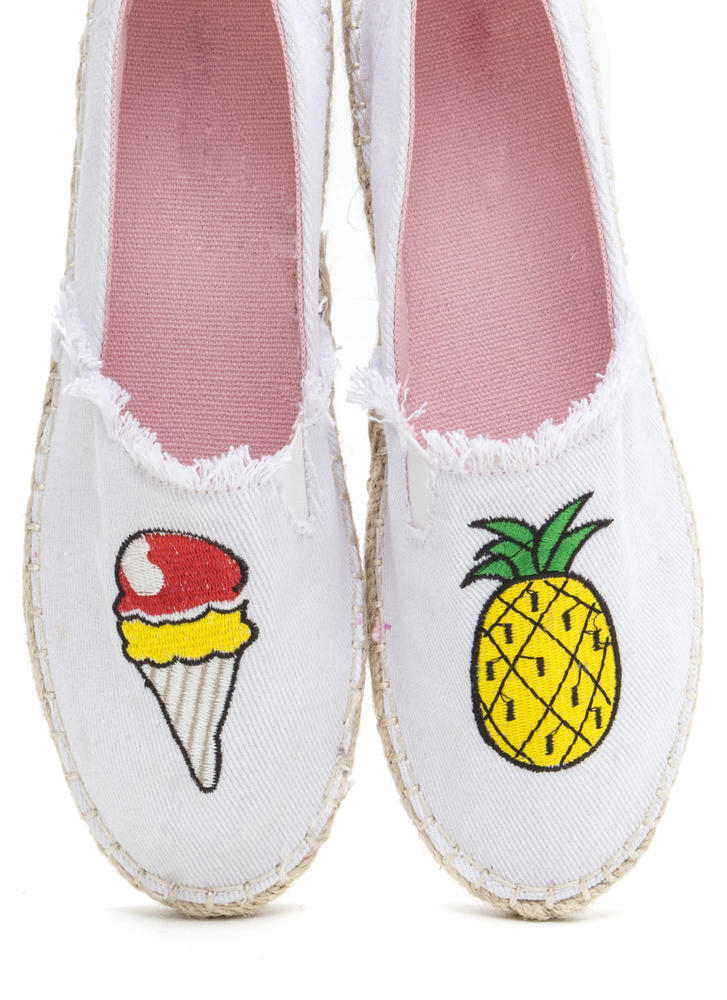 Foodie Fun Embroidered Espadrille Flats WHITE