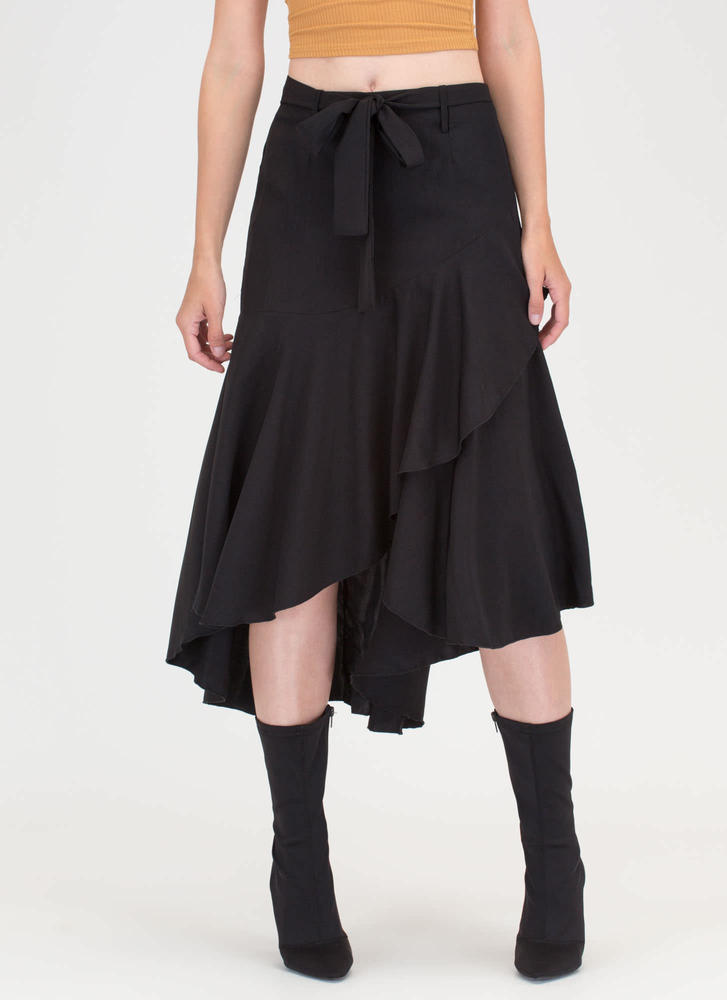 Flow Your Own Way High-Low Midi Skirt BLACK (You Saved $18)