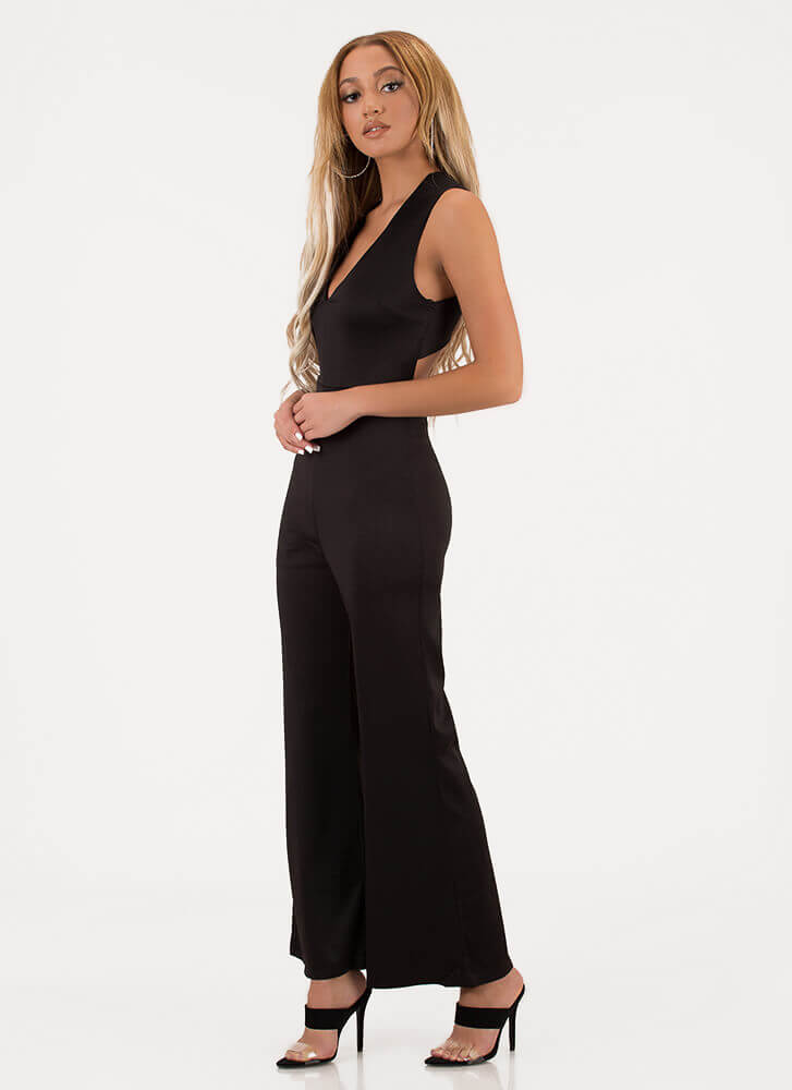 Cross Walk Plunging Palazzo Jumpsuit BLACK