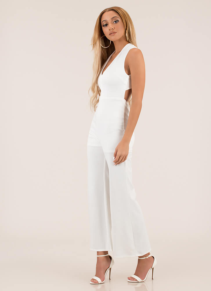 Cross Walk Plunging Palazzo Jumpsuit WHITE