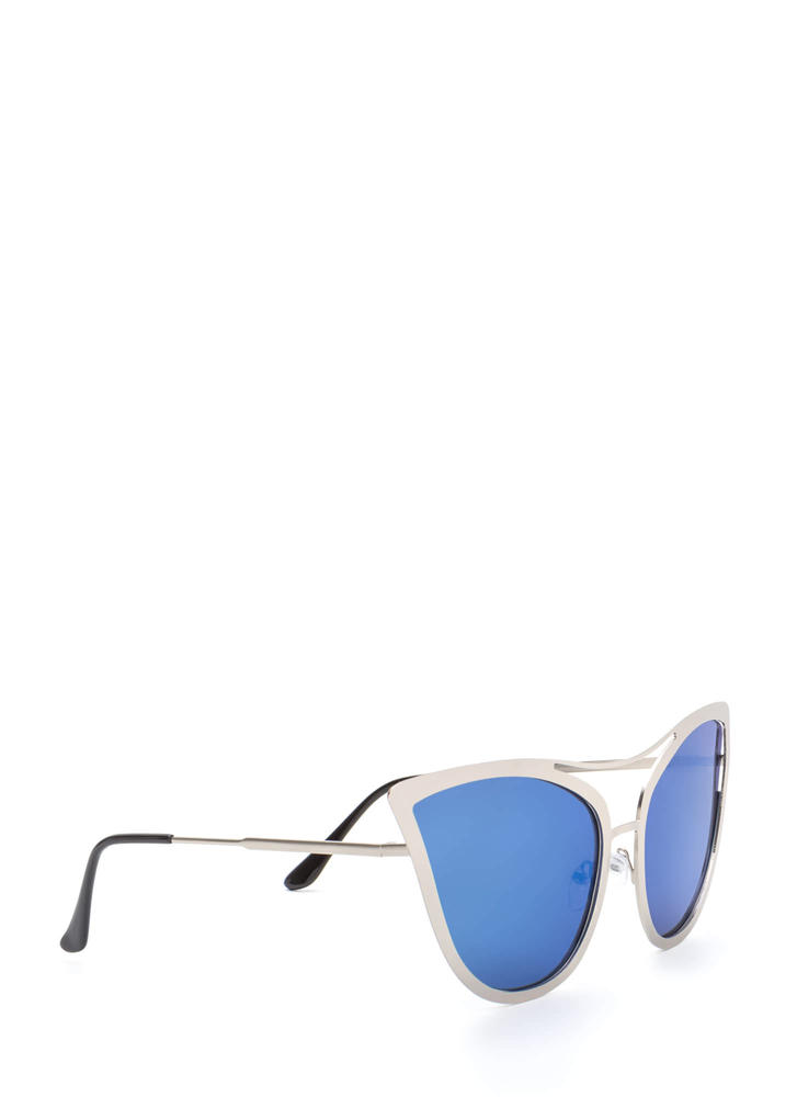 Pretty Kitty Mirrored Sunglasses BLUESILVER