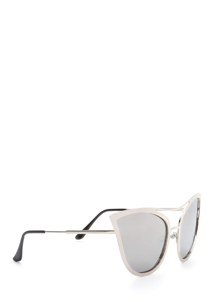 Pretty Kitty Mirrored Sunglasses SILVER