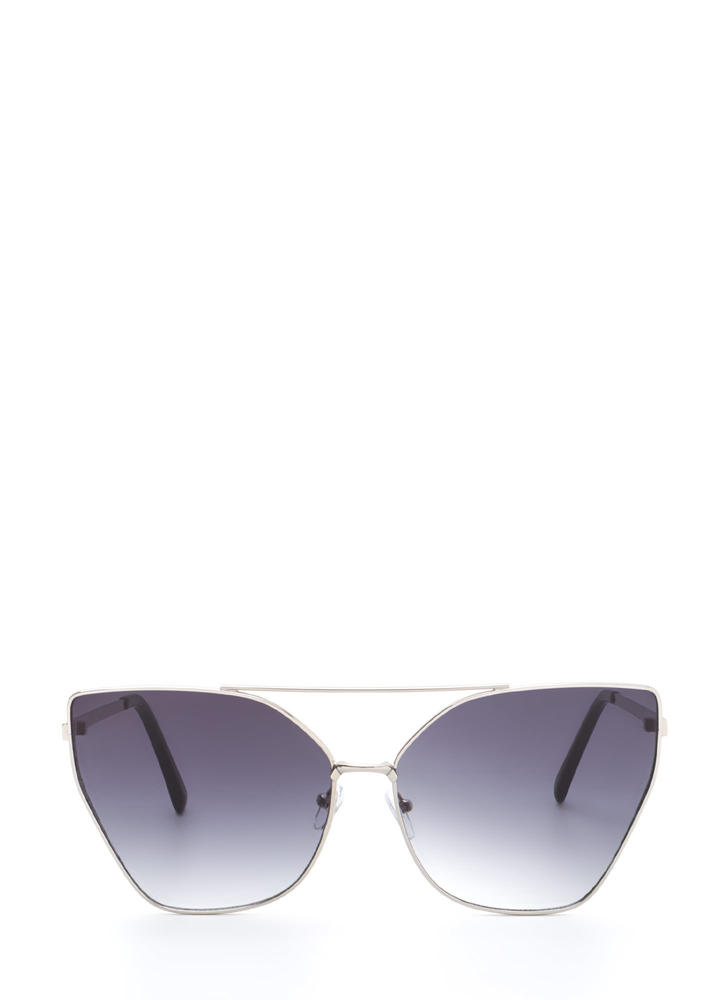 Diva Status Cat-Eye Top Bar Sunglasses BLACKSILVER
