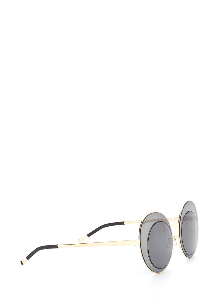 Futuristic Touch Round Sunglasses BLACKGOLD