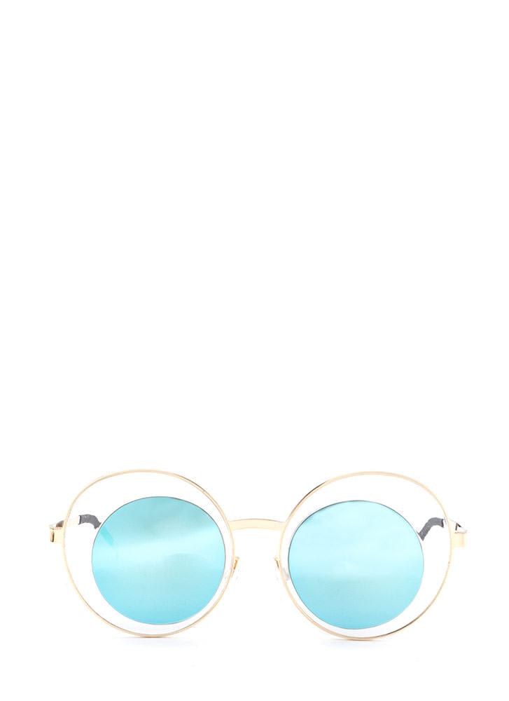 Futuristic Touch Round Sunglasses BLUEGOLD (You Saved $5)