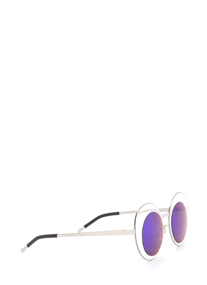 Futuristic Touch Round Sunglasses BLUESILVER (You Saved $5)
