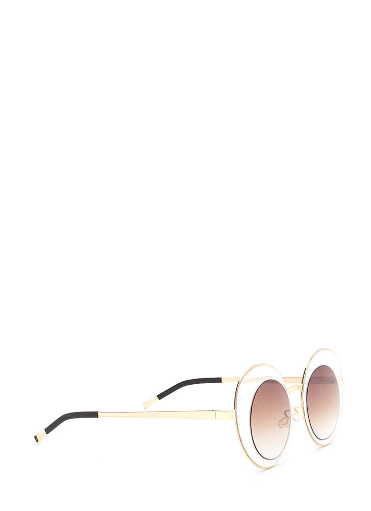 Futuristic Touch Round Sunglasses BROWNGOLD (You Saved $5)