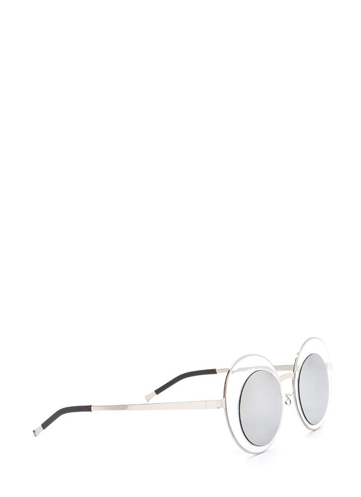 Futuristic Touch Round Sunglasses GREYSILVER (You Saved $5)