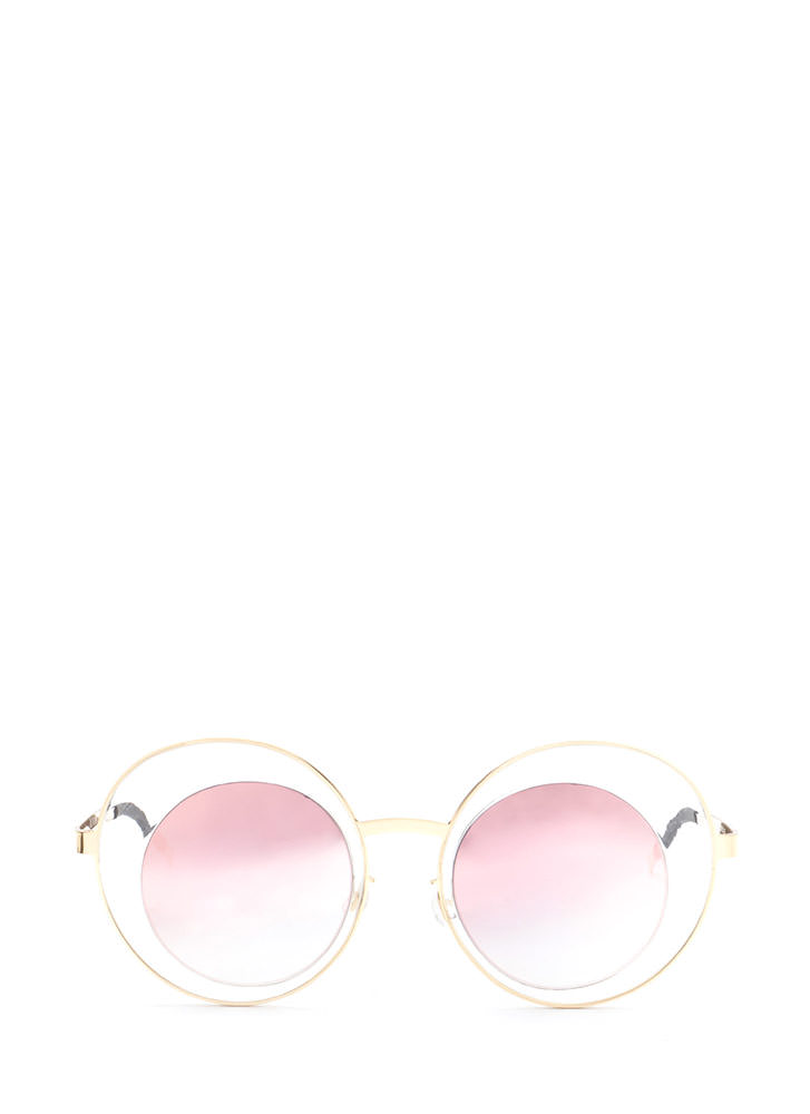 Futuristic Touch Round Sunglasses ROSEGOLD (You Saved $5)