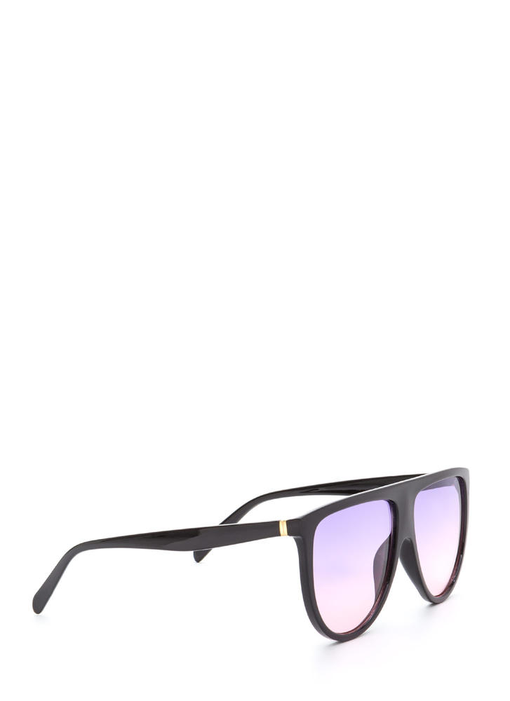 Sunny Statement Gradient Tinted Sunglasses BLACKPURPLE