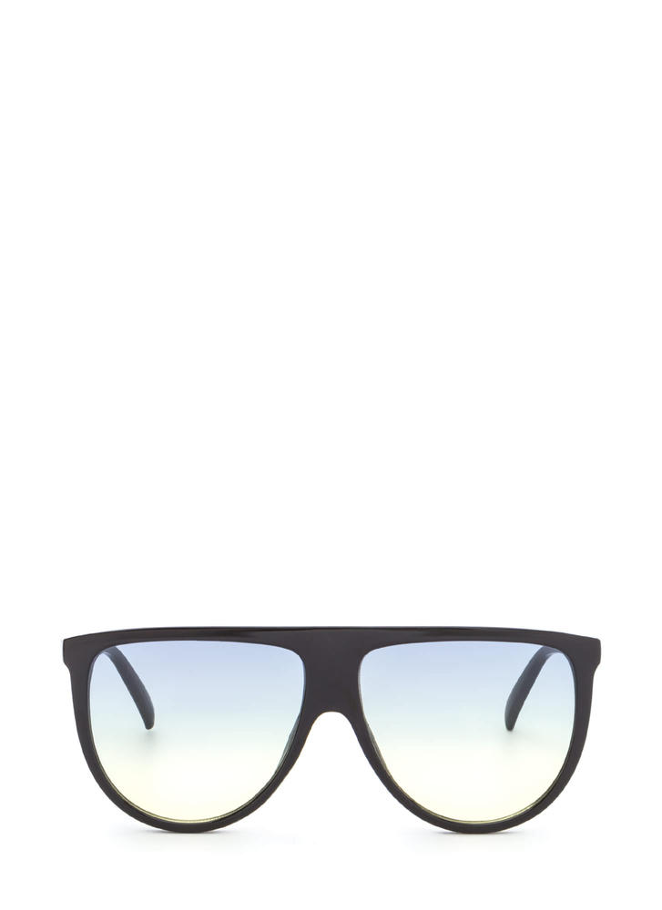 Sunny Statement Gradient Tinted Sunglasses BLACKYELLOW