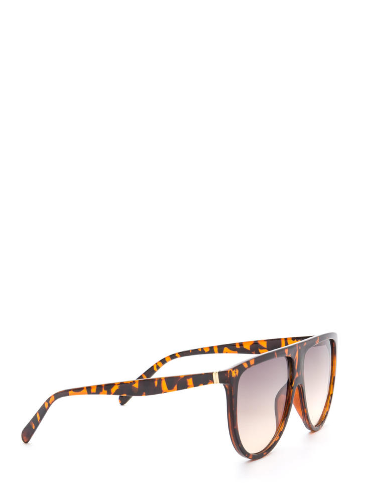 Sunny Statement Gradient Tinted Sunglasses BROWN