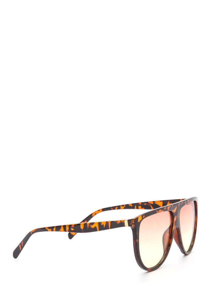 Sunny Statement Gradient Tinted Sunglasses BROWNORANGE