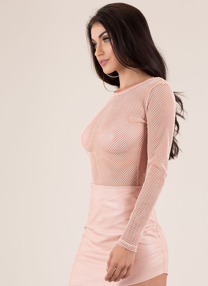 Hole Thing Netted Sports Mesh Bodysuit BLUSH