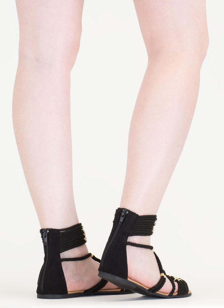 Rope You In Strappy Caged Sandals BLACK