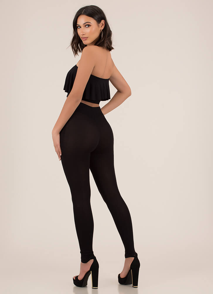 Flirty Fun Bandeau Top 'N Leggings Set BLACK