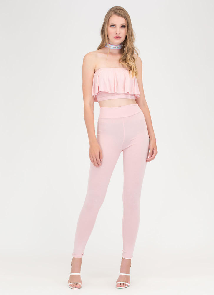 Flirty Fun Bandeau Top 'N Leggings Set BLUSH