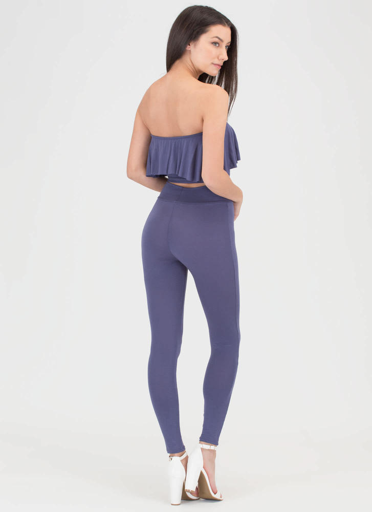 Flirty Fun Bandeau Top 'N Leggings Set NAVY