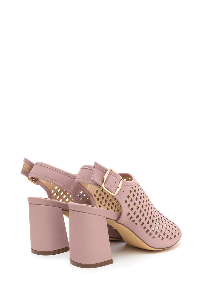 We're Square Cut-Out Chunky Heels MAUVE