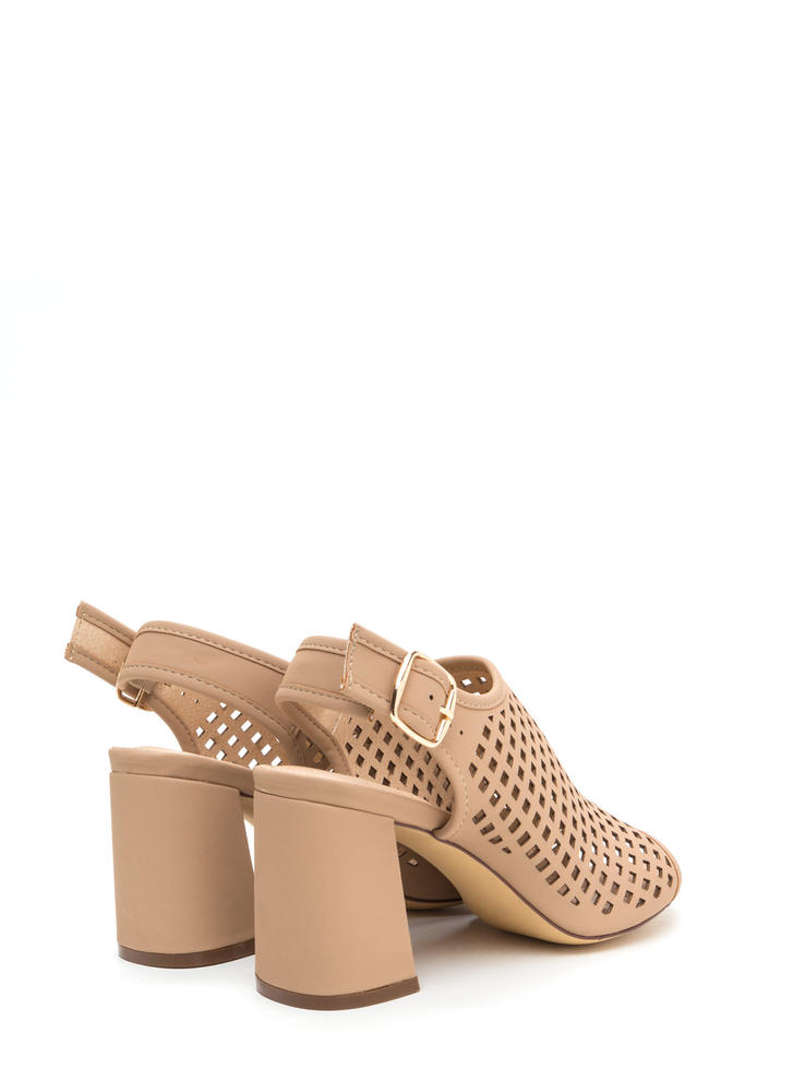 We're Square Cut-Out Chunky Heels NUDE