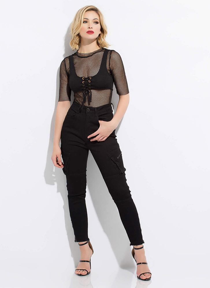 Two Good Lace-Up Fishnet Bodysuit BLACK