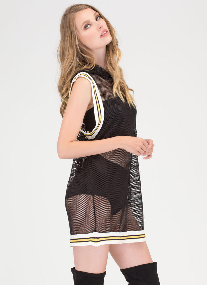 Athleisure Mood Fishnet Hoodie Dress BLACK