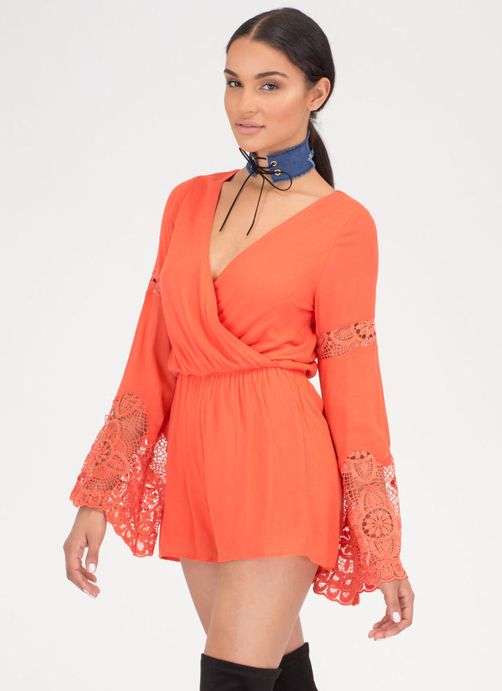 Flirty 'N Fun Lace Bell Sleeve Romper CORAL