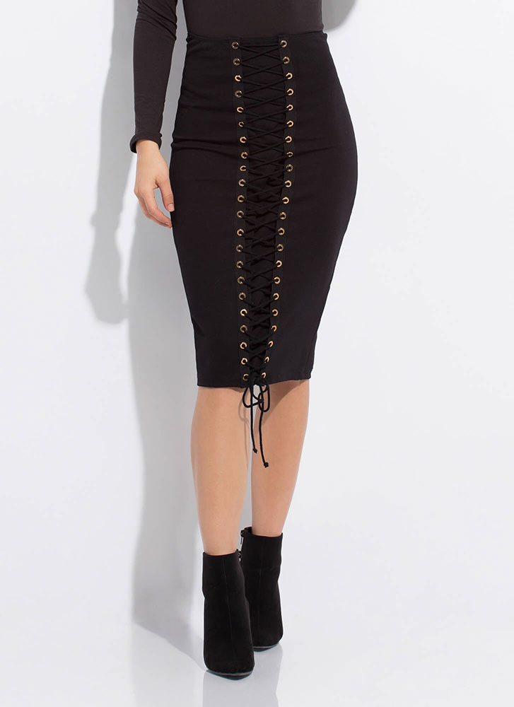 All The Way High-Waisted Lace-Up Skirt BLACK