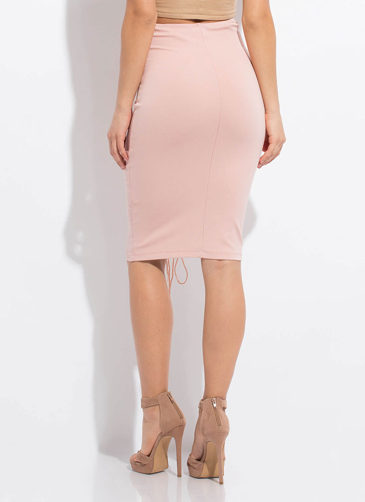 All The Way High-Waisted Lace-Up Skirt BLUSH