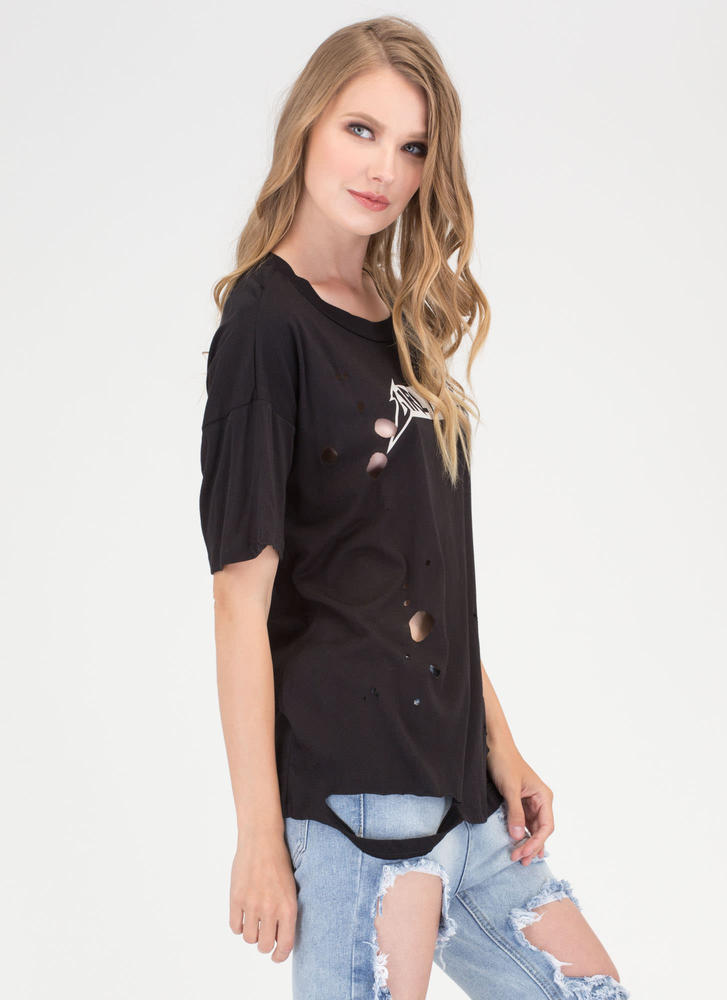 Girl Power Distressed Graphic Tee BLACK