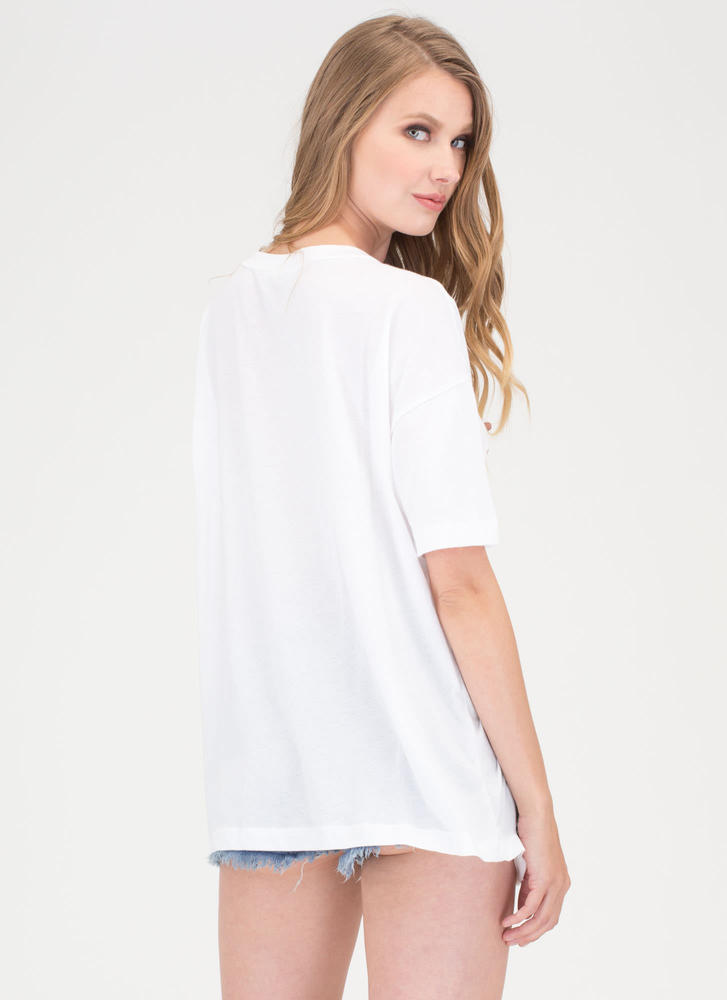 Girl Power Distressed Graphic Tee WHITE