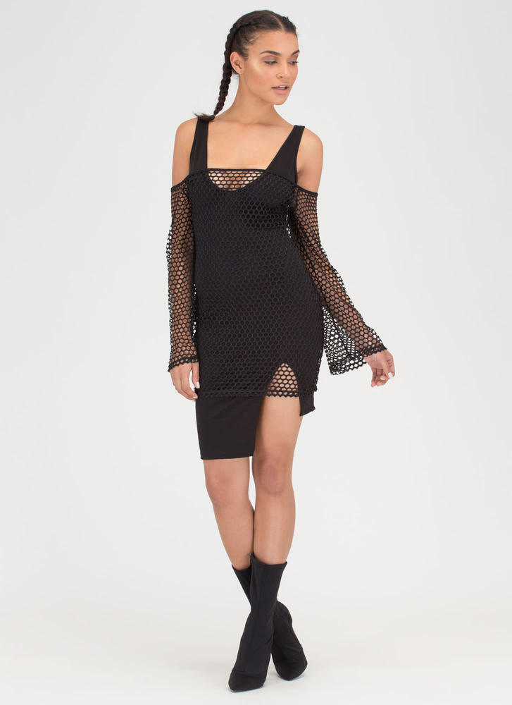 Ready Net Go Off-Shoulder High-Low Dress BLACK