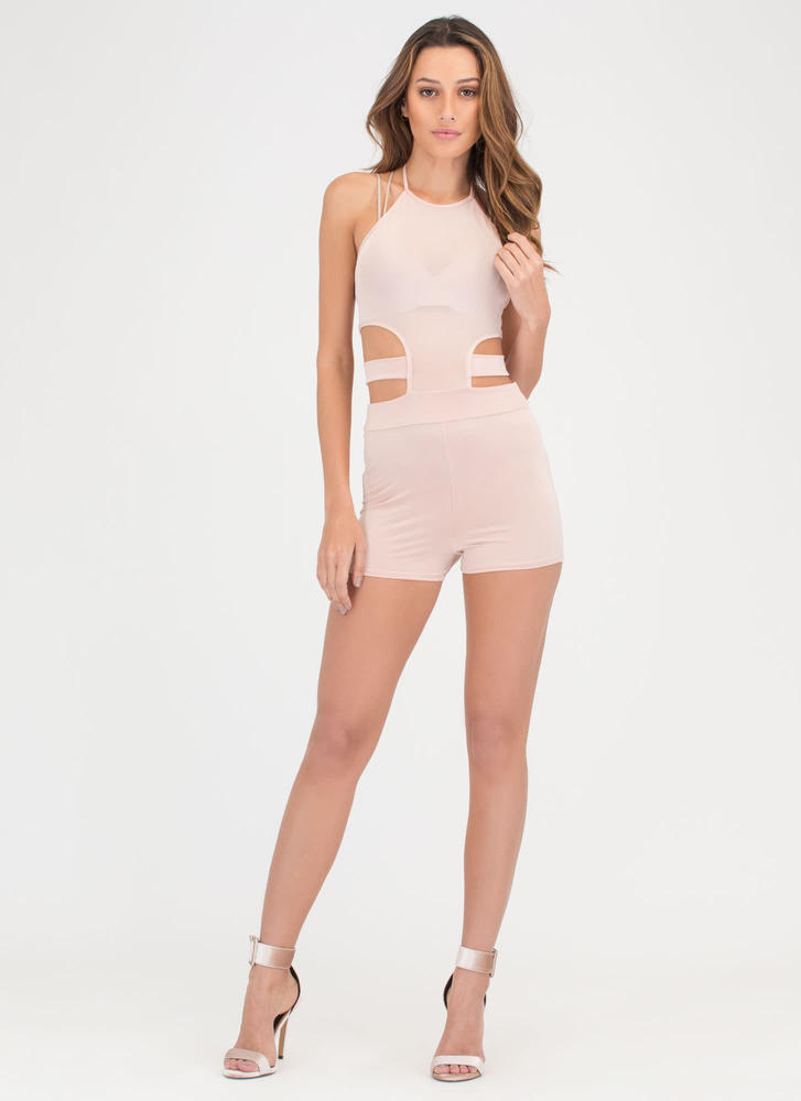 Mesh Things Up Cut-Out Halter Romper NUDE