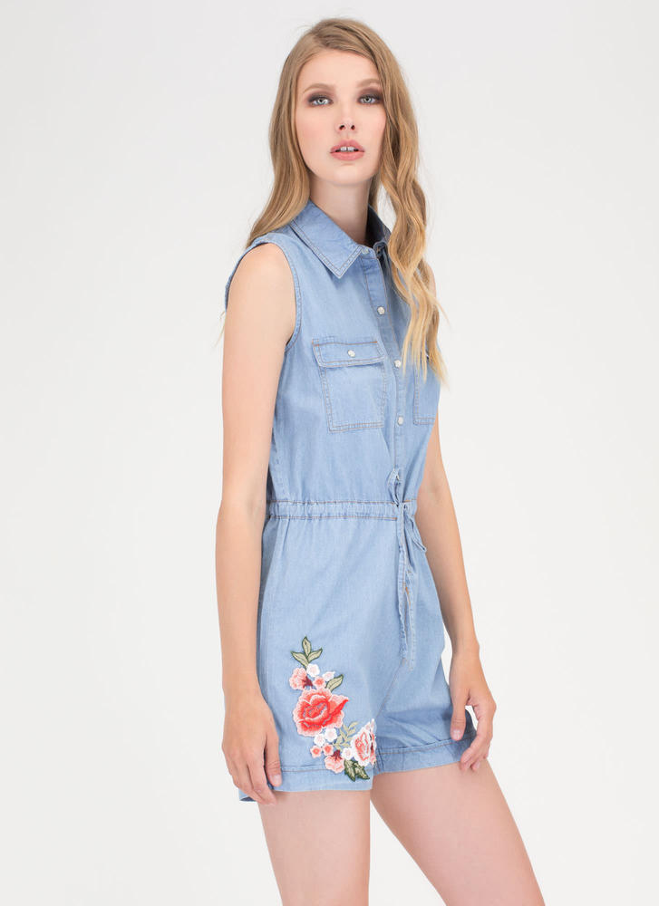 Garden Trip Embroidered Chambray Romper LTBLUE