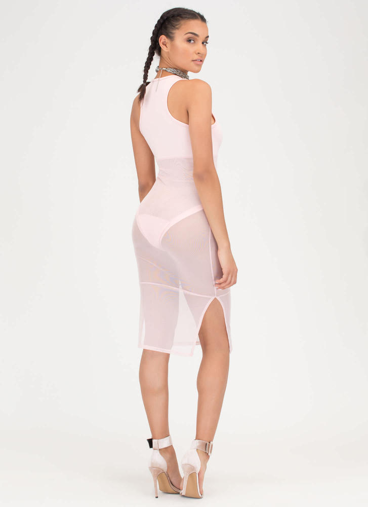 It's A Sheer Thing Plunging Midi Dress BLUSH