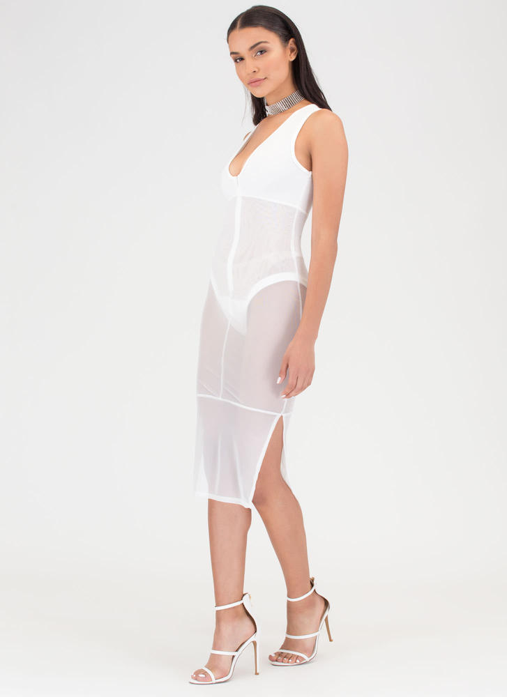 It's A Sheer Thing Plunging Midi Dress OFFWHITE