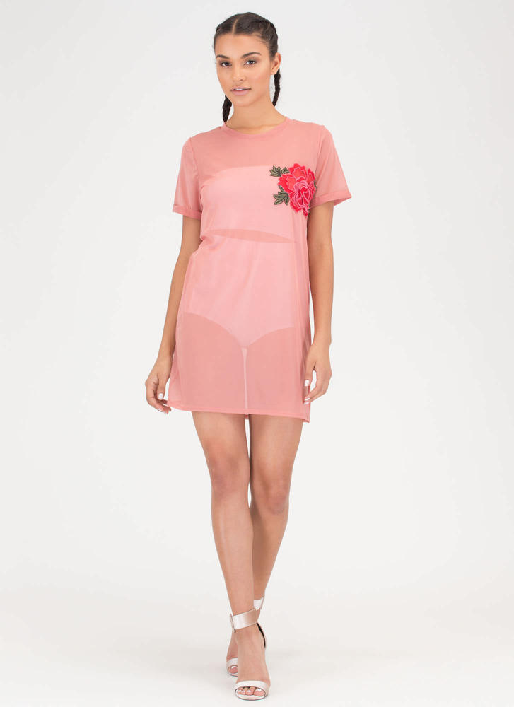 By Any Other Name Sheer Tee Dress MAUVE