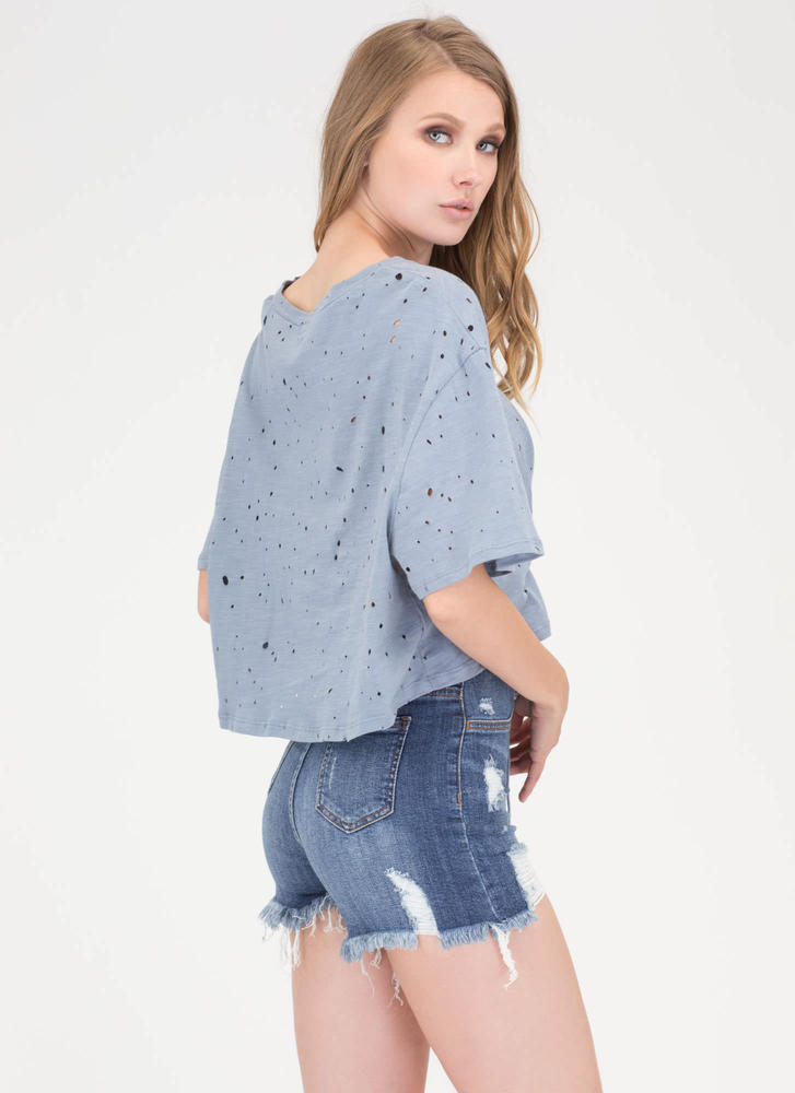 Breezy Sunday Lace-Up Crop Top BLUE