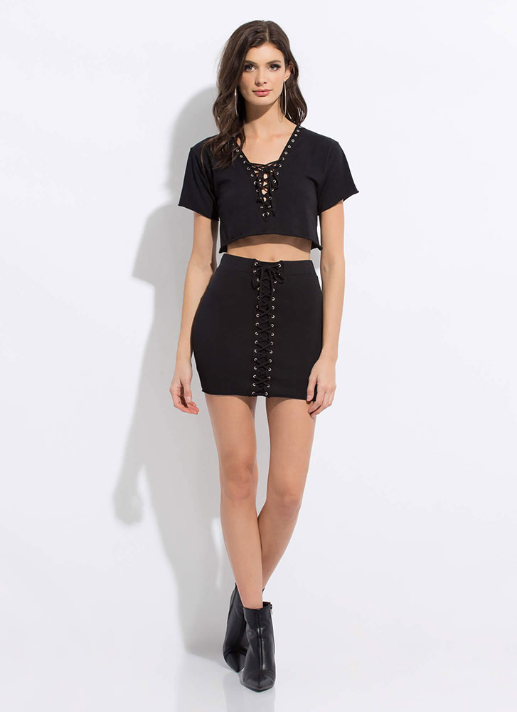 All Laced Up Two-Piece Minidress BLACK