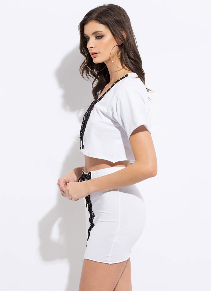 All Laced Up Two-Piece Minidress WHITE