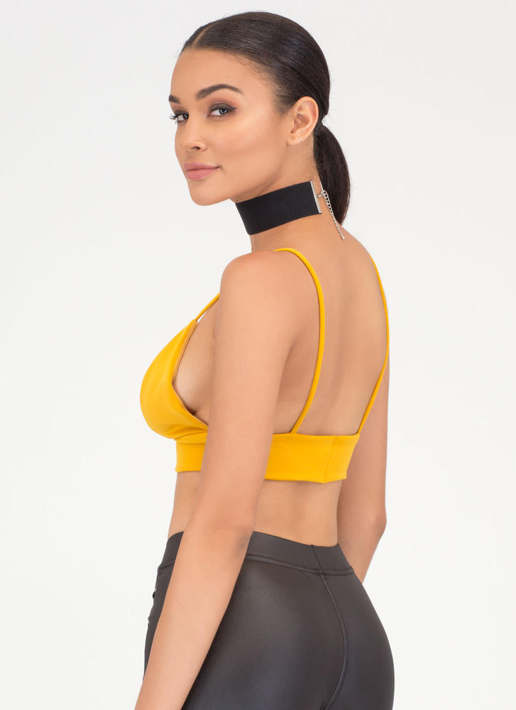 I Love You Bra Triangle Crop Top MUSTARD
