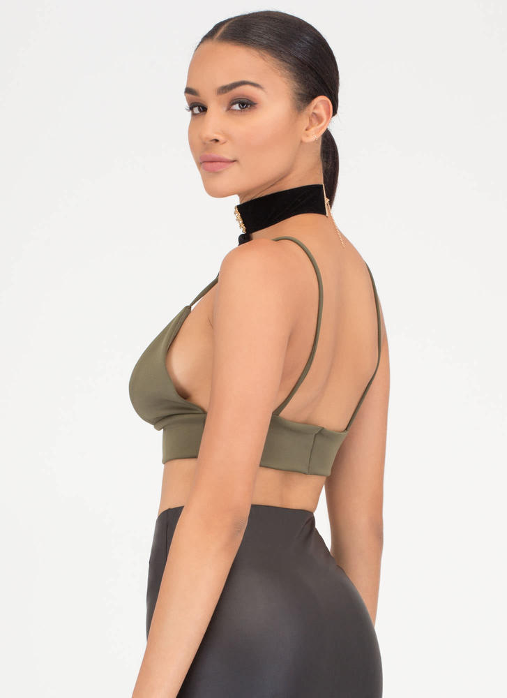 I Love You Bra Triangle Crop Top OLIVE