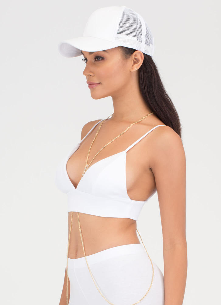 I Love You Bra Triangle Crop Top WHITE