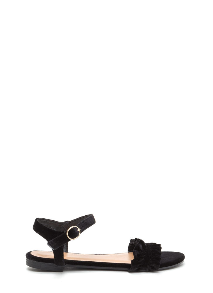 Walking On Air Ruffled Velvet Sandals BLACK